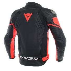RACING 3 PERF. LEATHER JACKET BLACK/BLACK/FLUO-RED