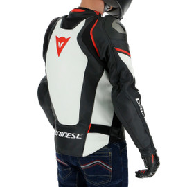 RACING 3 D-AIR LEATHER JACKET BLACK/WHITE/LAVA-RED- D-air