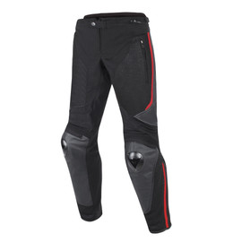 MIG LEATHER-TEX PANTS BLACK/BLACK/RED-LAVA