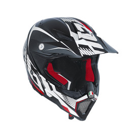 AX-8 CARBON AGV E2205 MULTI - CARBOTECH WHITE/RED