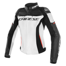 RACING 3 LADY LEATHER JACKET WHITE/BLACK/RED- Piel