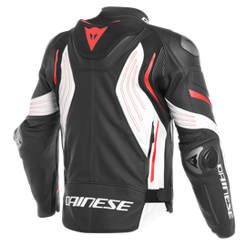 SUPER SPEED 3 LEATHER JACKET BLACK/WHITE/FLUO-RED- Cuir