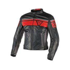 BLACKJACK LEATHER JACKET BLACK/RED/SMOKE