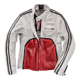 TOGA72 PERF. LEATHER JACKET WHITE-S/RED