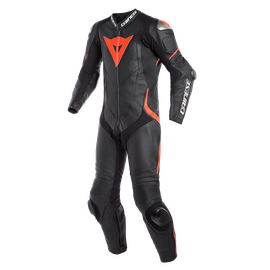 LAGUNA SECA 4 1PC PERF. LEATHER SUIT BLACK/BLACK/FLUO-RED