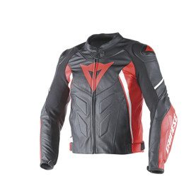 AVRO D1 LEATHER JACKET BLACK/RED/WHITE