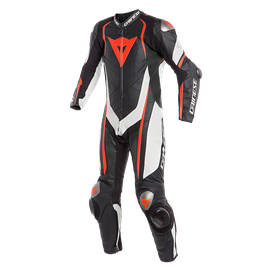 KYALAMI 1PC PERF. LEATHER SUIT BLACK/WHITE/FLUO-RED