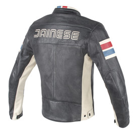 HF D1 PERFORATED LEATHER JACKET BLACK/ICE/RED/BLUE- Jackets