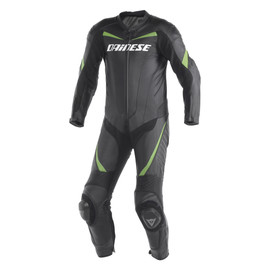 RACING 1 PC. SUIT BLACK/BLACK/GREEN-KAWA