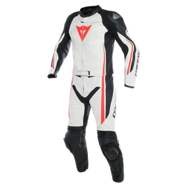 ASSEN 2 PCS SUIT WHITE/BLACK/FLUO-RED