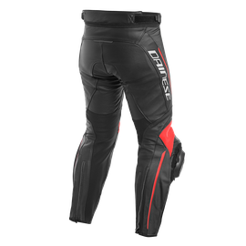 DELTA 3 LEATHER PANTS BLACK/BLACK/FLUO-RED- Cuir