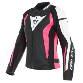 NEXUS LADY LEATHER JACKET BLACK/FUCHSIA/WHITE