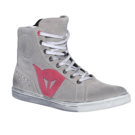 STREET BIKER LADY AIR LIGHT-GRAY/CORAL- Leather