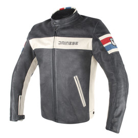 HF D1 PERFORATED LEATHER JACKET BLACK/ICE/RED/BLUE