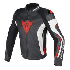 ASSEN LEATHER JACKET BLACK/WHITE/RED-FLUO