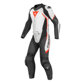 AVRO D1 2 PCS PERFORATED SUIT BLACK/WHITE/FLUO-RED