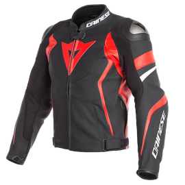 AVRO 4 LEATHER JACKET BLACK-MATT/LAVA-RED/WHITE- Cuir
