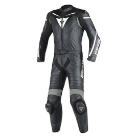 LAGUNA SECA D1 2PCS PERF SUIT BLACK/BLACK/ANTHRACITE- Leather Suits