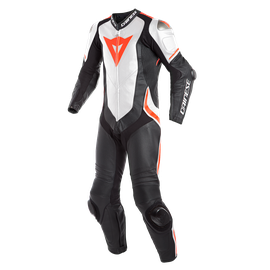 LAGUNA SECA 4 1PC S/T PERF. LEATHER SUIT BLACK/WHITE/FLUO-RED