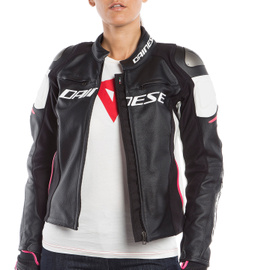 RACING 3 LADY LEATHER JACKET BLACK/WHITE/FUCHSIA- Leather