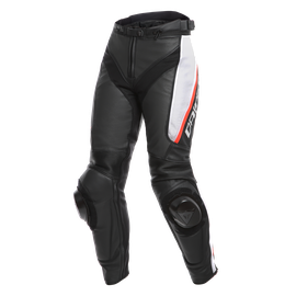 DELTA 3 PERF. LADY LEATHER PANTS BLACK/WHITE/RED- Piel