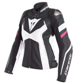 AVRO 4 LADY LEATHER JACKET BLACK-MATT/WHITE/FUCSIA- Pelle