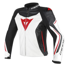 ASSEN LEATHER JACKET WHITE/BLACK/RED-LAVA