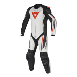 ASSEN 1 PC. PERF. SUIT WHITE/BLACK/RED-FLUO- Leather Suits
