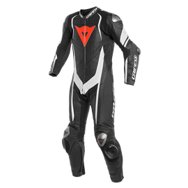 KYALAMI  1PC PERF. LEATHER SUIT BLACK/WHITE/WHITE- Einteiler
