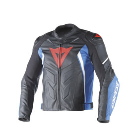 AVRO D1 LEATHER JACKET BLACK/SKY-BLUE/WHITE