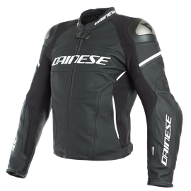 RACING 3 D-AIR LEATHER JACKET BLACK-MATT/BLACK-MATT/WHITE- D-air