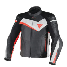 VELOSTER LEATHER JACKET BLACK/WHITE/FLUO-RED