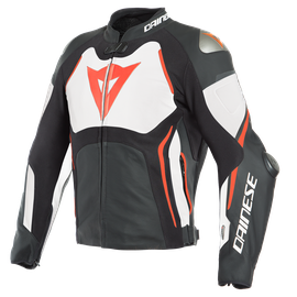 TUONO D-AIR LEATHER JACKET BLACK/WHITE/FLUO-RED- D-air