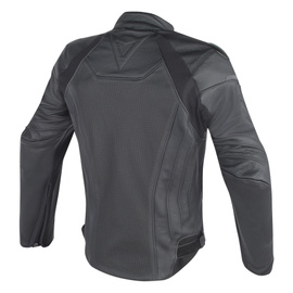 FIGHTER LEATHER PERFORATED JACKET BLACK/BLACK- undefined