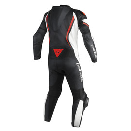 ASSEN 1 PC. PERF. SUIT BLACK/WHITE/RED-FLUO- Leather Suits