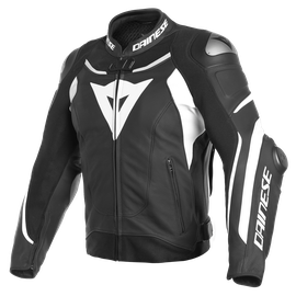 SUPER SPEED 3 LEATHER JACKET BLACK/WHITE/WHITE- Cuir