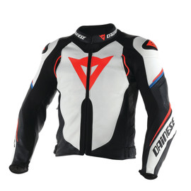 SUPER SPEED D1 LEATHER JACKET WHITE/BLACK/FLUO-RED