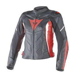 AVRO D1 LADY LEATHER JACKET BLACK/RED/WHITE