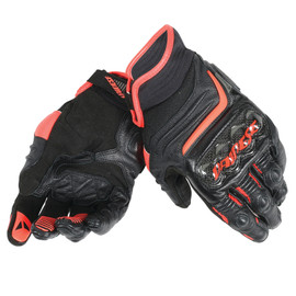 CARBON D1 SHORT GLOVES BLACK/BLACK/FLUO-RED