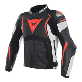 MUGELLO PERF. LEATHER JACKET BLACK/WHITE/FLUO-RED- Leather
