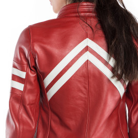FRECCIA72 LADY LEATHER JACKET RED/WHITE-S