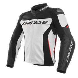 RACING 3 LEATHER JACKET WHITE/BLACK/RED- Leather