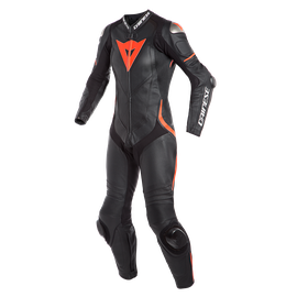 LAGUNA SECA 4 1PC PERF. LADY LEATHER SUIT BLACK/BLACK/FLUO-RED- One Piece Suits