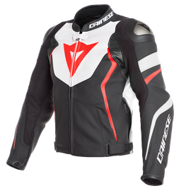 AVRO 4 LEATHER JACKET BLACK-MATT/WHITE/FLUO-RED