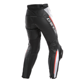 DELTA 3 LADY LEATHER PANTS BLACK/WHITE/RED- Piel