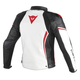 ASSEN PERFORATED LEATHER JACKET WHITE/BLACK/RED-LAVA