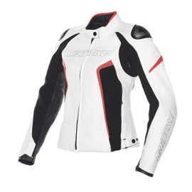 RACING D1 PELLE LADY WHITE/BLACK/FLUO-RED