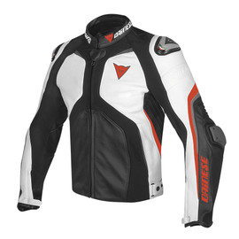 SUPER RIDER LEATHER JACKET BLACK/WHITE/FLUO-RED