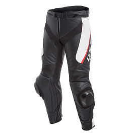 DELTA 3 SHORT/TALL LEATHER PANTS BLACK/WHITE/RED- Leather