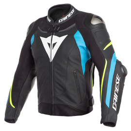 SUPER SPEED 3 LEATHER JACKET BLACK/FIRE-BLUE/FLUO-YELLOW